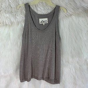 Aiko Small Shimmer Slit Knit Blouse Tank top